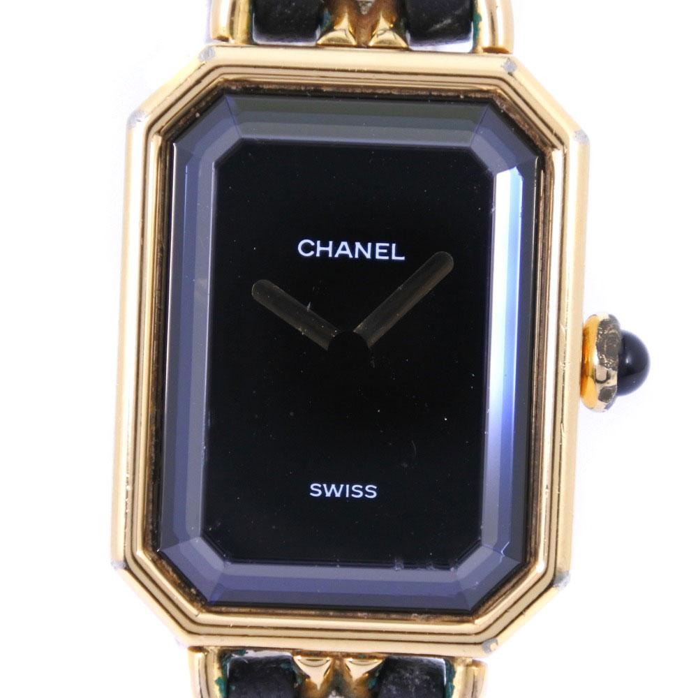 【CHANEL】シャネル プルミエールL GP×レザー ゴールド クオーツ レディース 黒文字盤 腕時計【中古】B-ランク