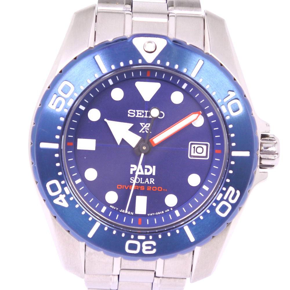 【SEIKO】セイコー ダイバー スキューバ V147-0BD0 1200本限定 SBDN035 チタン ソーラー レディース 青文字盤 腕時計【中古】Aランク