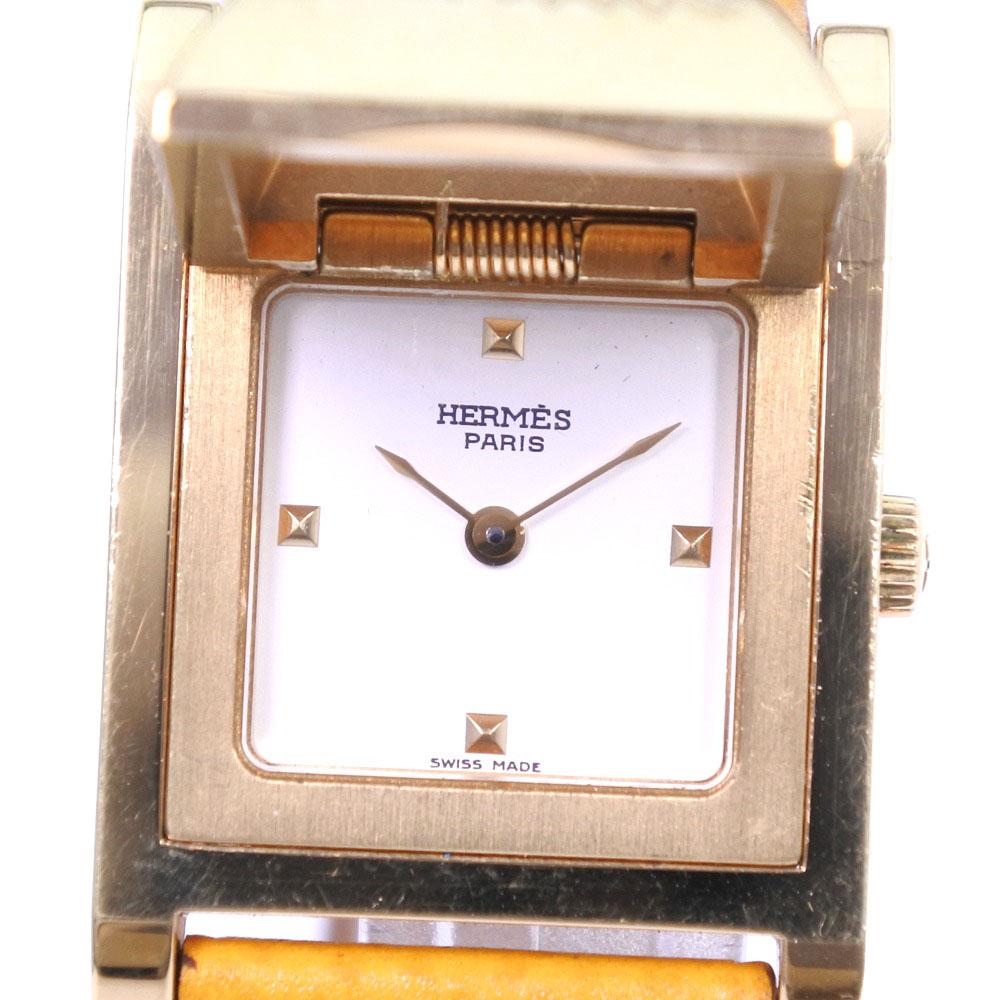 【HERMES】エルメス メドール ステンレススチール×レザー ゴールド 〇Y刻印 クオーツ レディース 白文字盤 腕時計【中古】