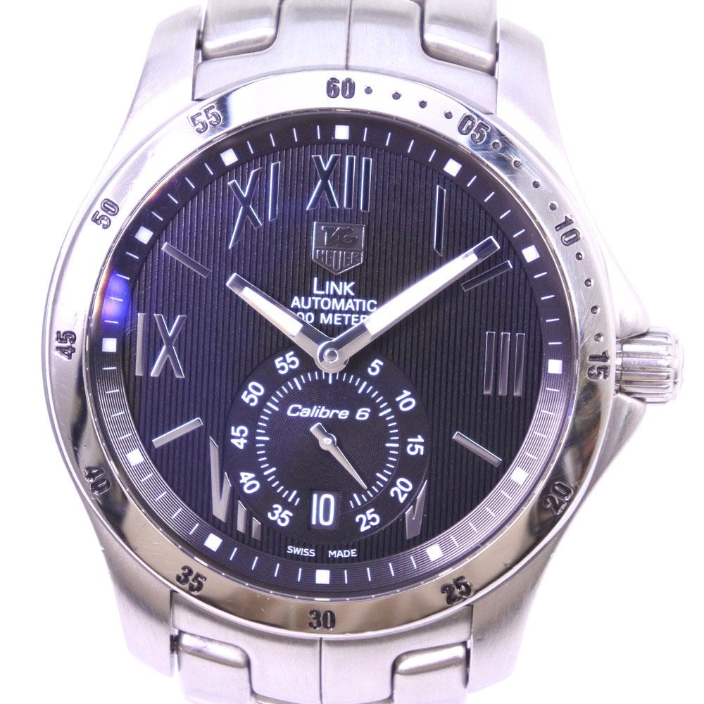 【TAG HEUER】タグホイヤー リンク WJF211N ステンレススチール シルバー 自動巻き メンズ 黒文字盤 腕時計【中古】A-ランク