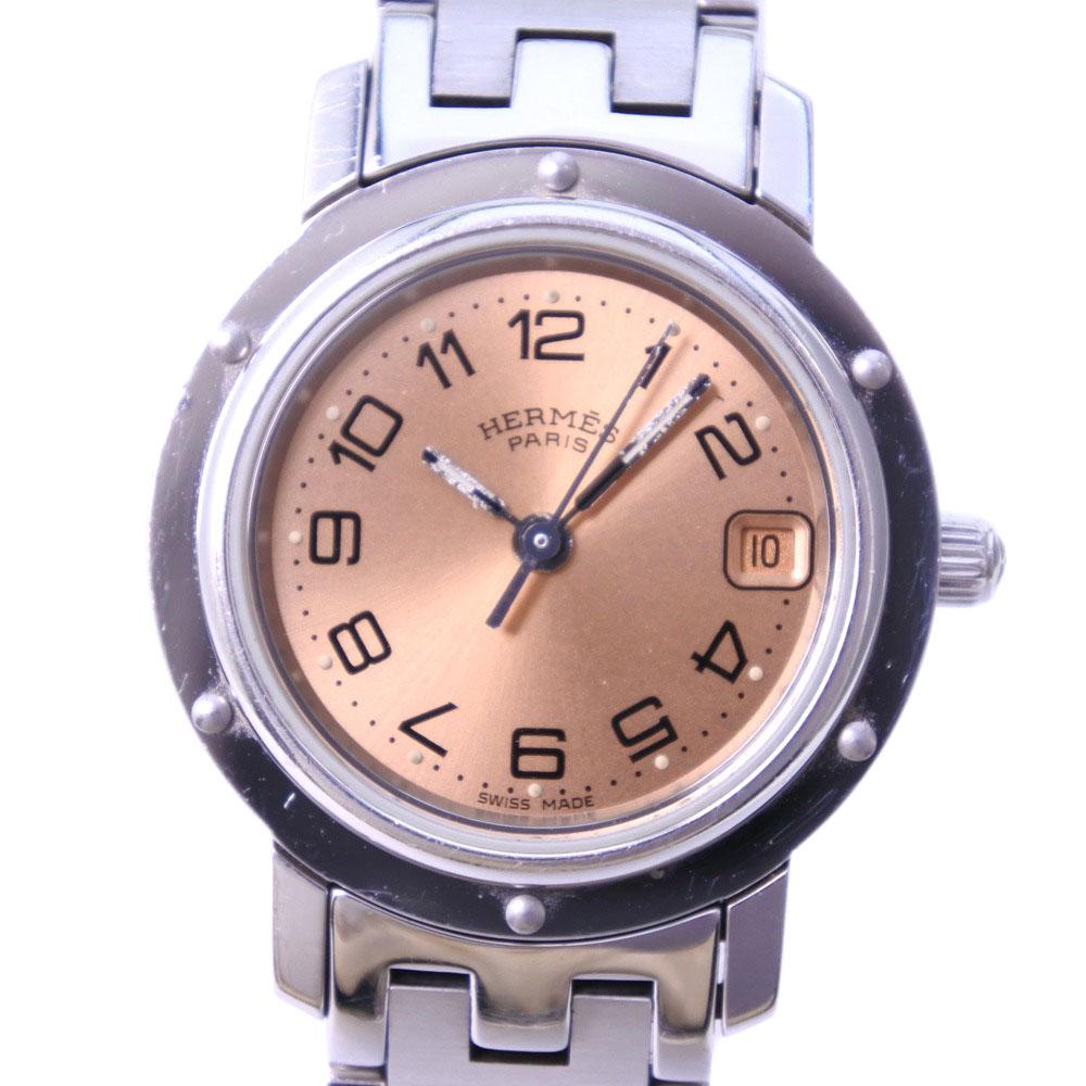 【HERMES】エルメス クリッパー CL4.210 ステンレススチール クオーツ レディース ブロンズ文字盤 腕時計【中古】