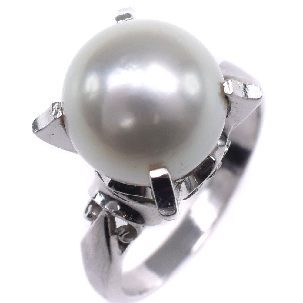 真珠 9.5mm パール×Pt900プラチナ 10号 レディース リング・指輪【中古】SAランク