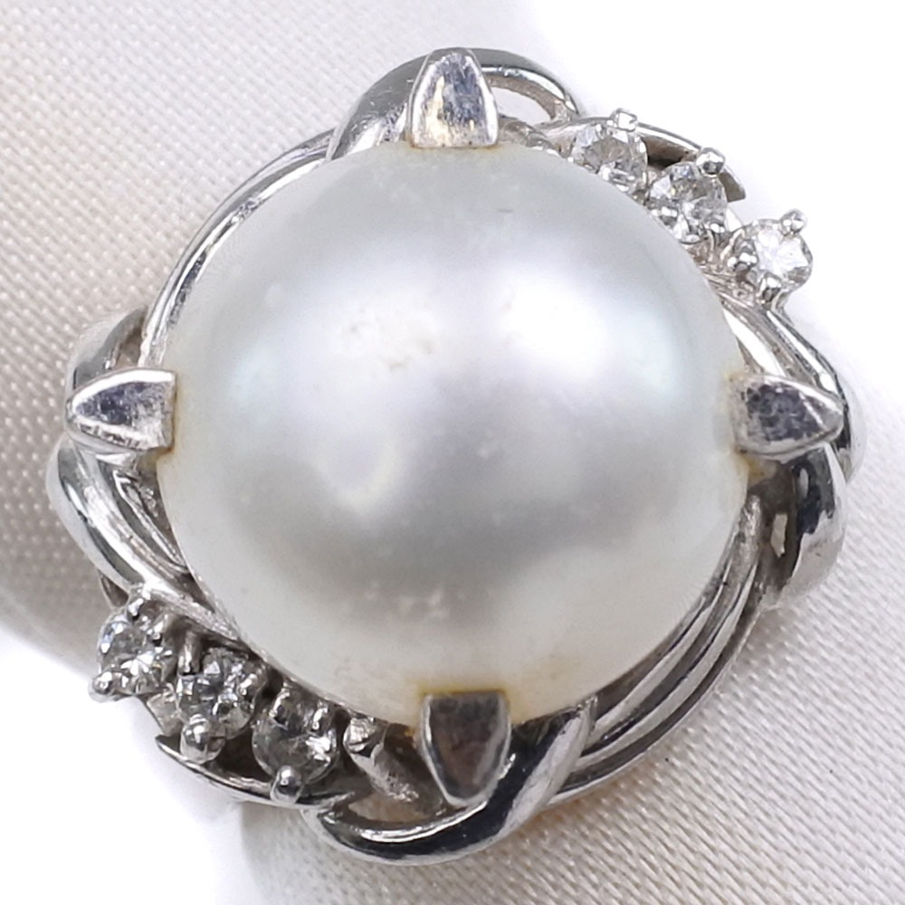 真珠 ダイヤモンド 11mm パール×Pt900プラチナ 8号 レディース リング・指輪【中古】SAランク