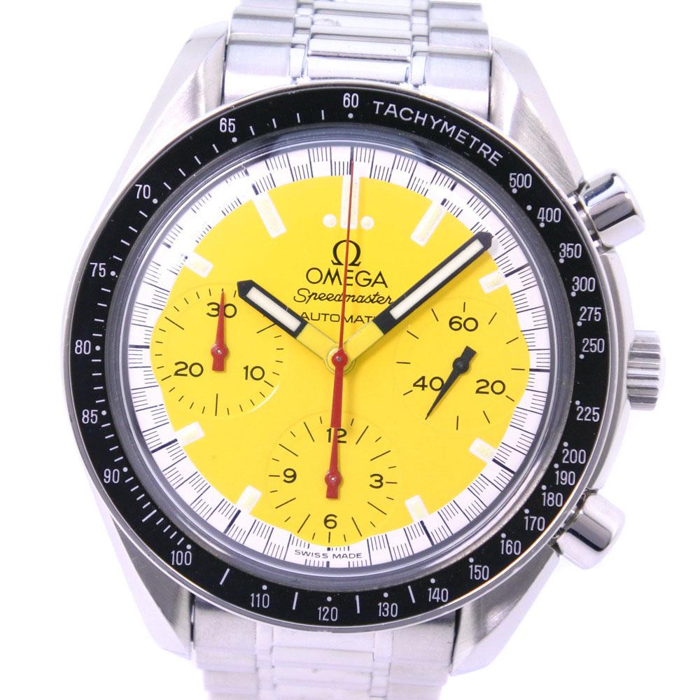 【OMEGA】オメガ スピードマスター シューマッハ *OH済 3510.12 ステンレススチール 自動巻き メンズ 黄色文字盤 腕時計【中古】A-ランク