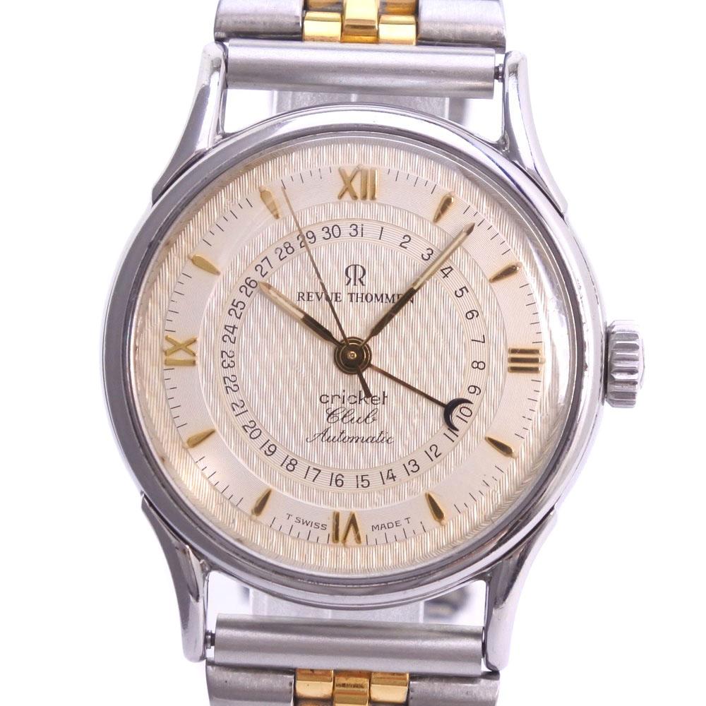 【REVUE THOMMEN】レビュートーメン クリケット クラブ 6110001 ステンレススチール ゴールド 自動巻き メンズ シルバー文字盤 腕時計【中古】