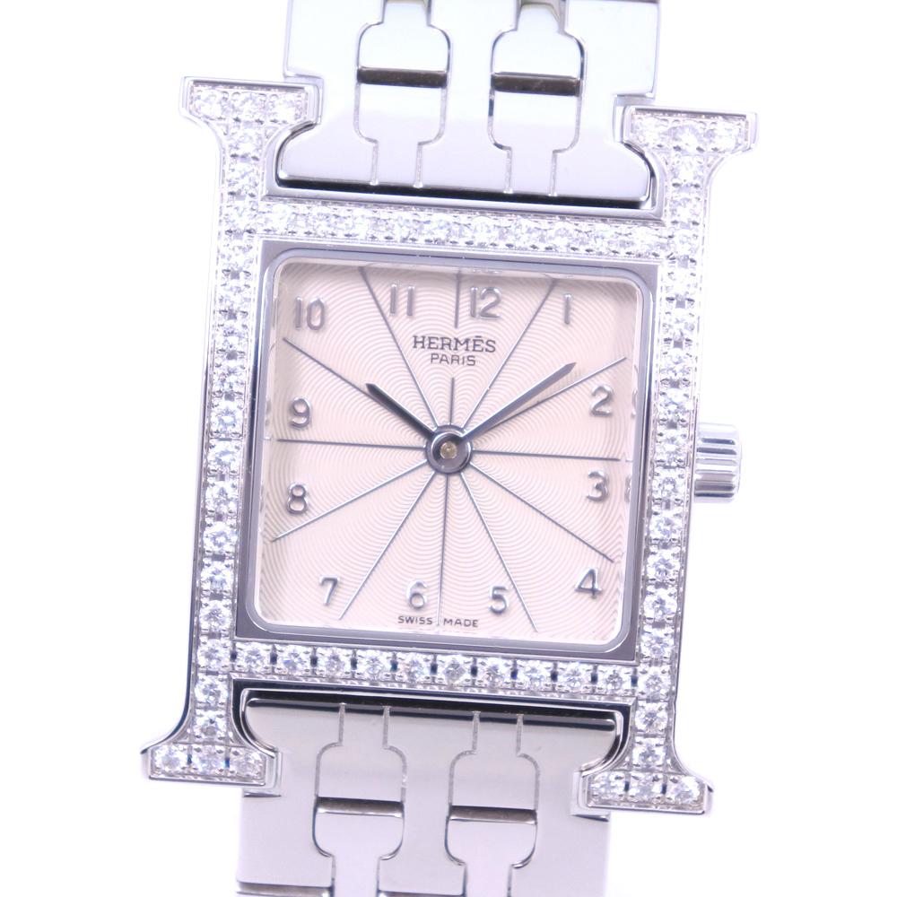 【HERMES】エルメス Hウォッチ ベゼルダイヤ HH1.230 ステンレススチール クオーツ レディース 白文字盤 腕時計【中古】A+ランク