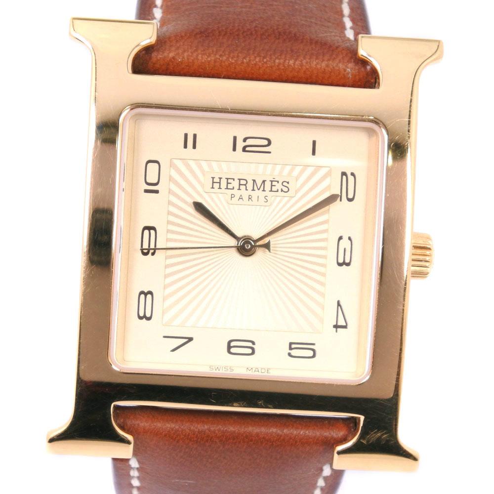【HERMES】エルメス Hウォッチ HH1.801 GP×レザー ゴールド □P刻印 クオーツ メンズ クリーム文字盤 腕時計【中古】A-ランク