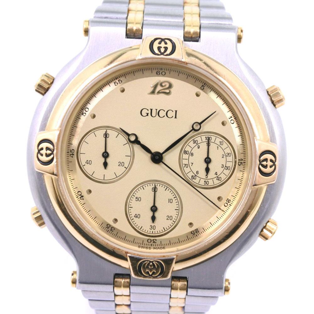 【GUCCI】グッチ 9400 GP×ステンレススチール ゴールド クオーツ メンズ クリーム文字盤 腕時計【中古】A-ランク