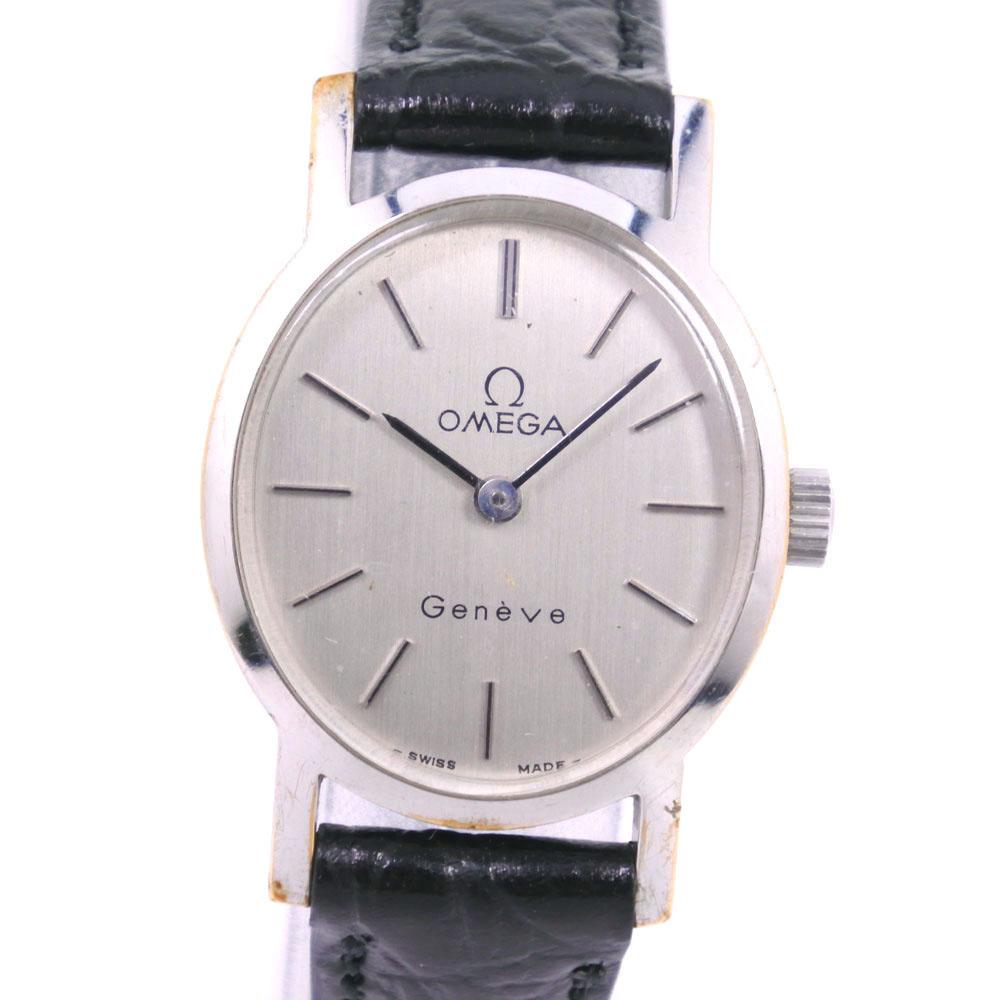 【OMEGA】オメガ cal.625 ステンレススチール×レザー 手巻き レディース シルバー文字盤 腕時計【中古】
