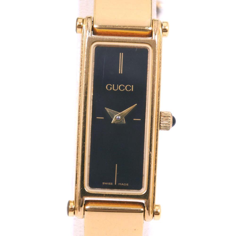 【GUCCI】グッチ 1500 ステンレススチール ゴールド クオーツ レディース 黒文字盤 腕時計【中古】