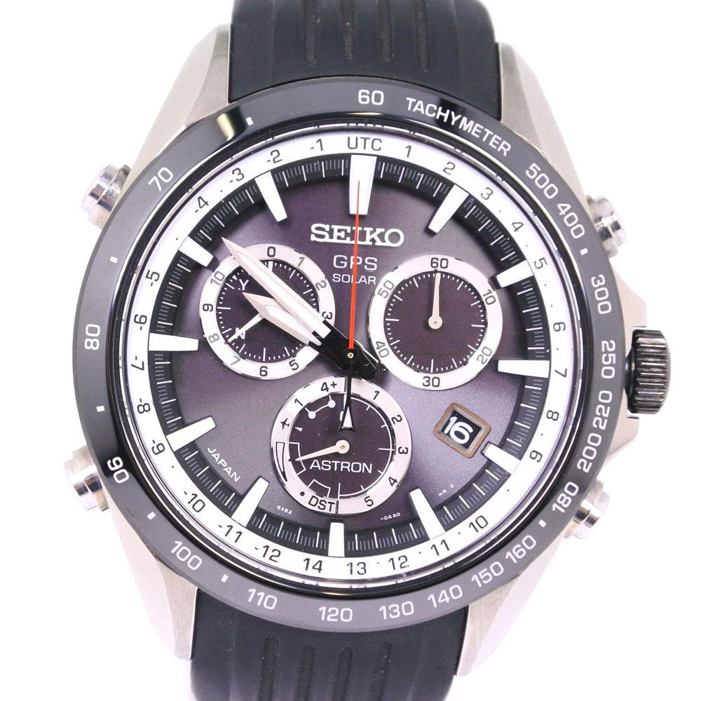【SEIKO】セイコー アストロン 8X82-0AC0 SBXB015 ステンレススチール×ラバー ホワイト ソーラー電波時計 メンズ 黒文字盤 腕時計【中古】A+ランク