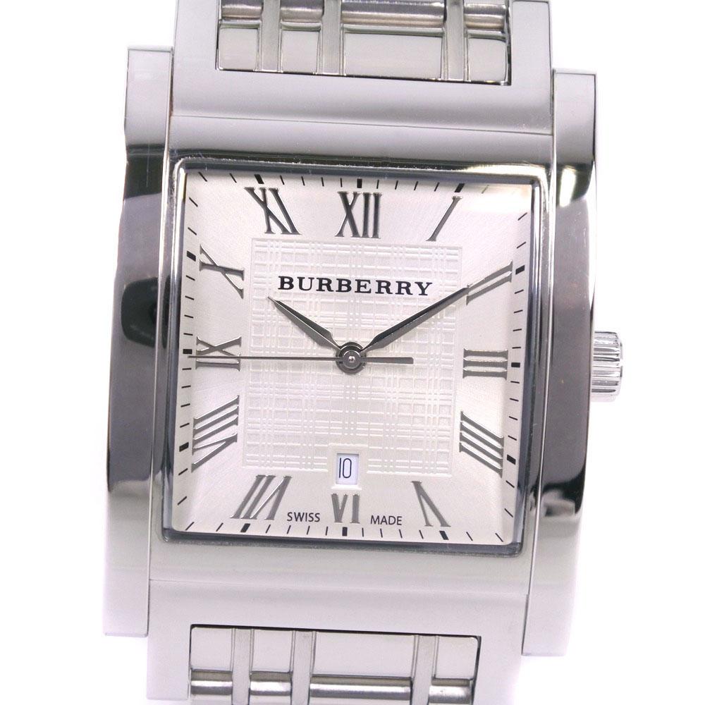 【BURBERRY】バーバリー BU1550 ステンレススチール クオーツ メンズ シルバー文字盤 腕時計【中古】A+ランク