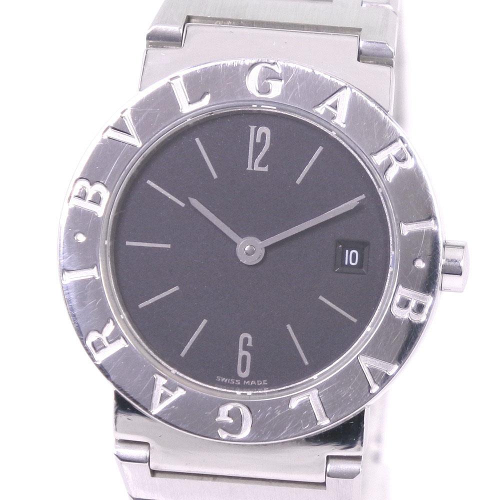 【BVLGARI】ブルガリ ブルガリブルガリ BB26SSD ステンレススチール シルバー クオーツ メンズ 黒文字盤 腕時計【中古】A-ランク