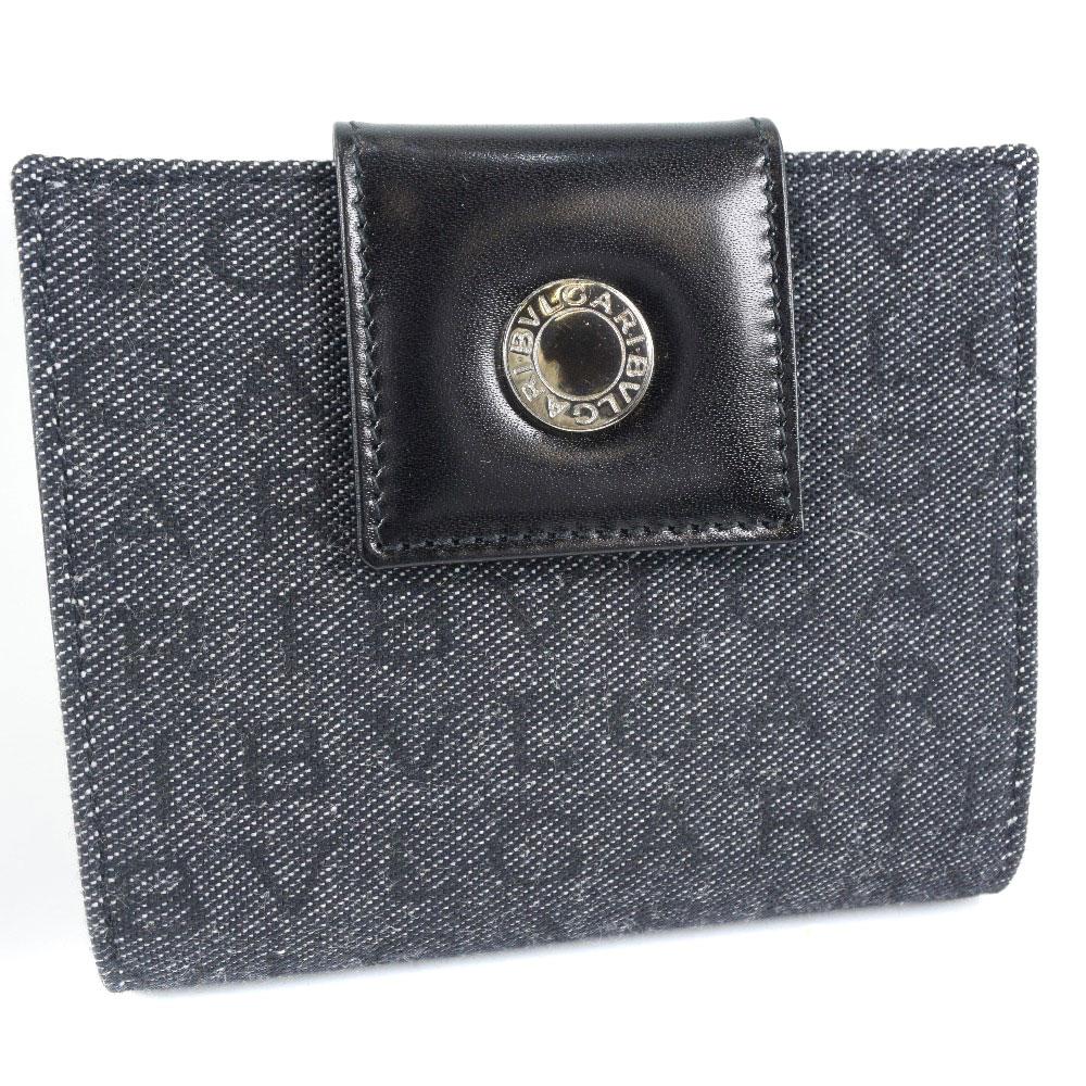 【BVLGARI】ブルガリ キャンバス×レザー グレー レディース 二つ折り財布【中古】SAランク