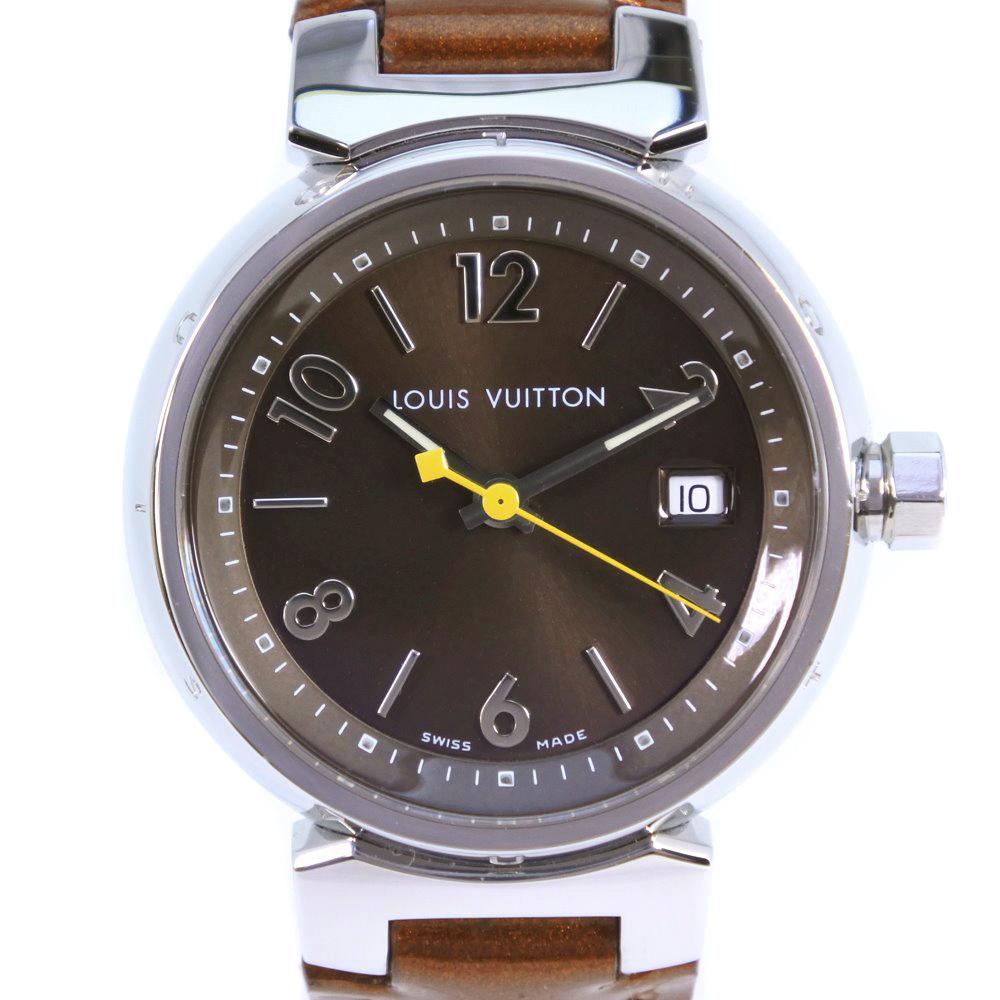 【LOUIS VUITTON】ルイ・ヴィトン タンブール Q1211 ステンレススチール×レザー ブラウン クオーツ レディース 茶文字盤 腕時計【中古】A+ランク