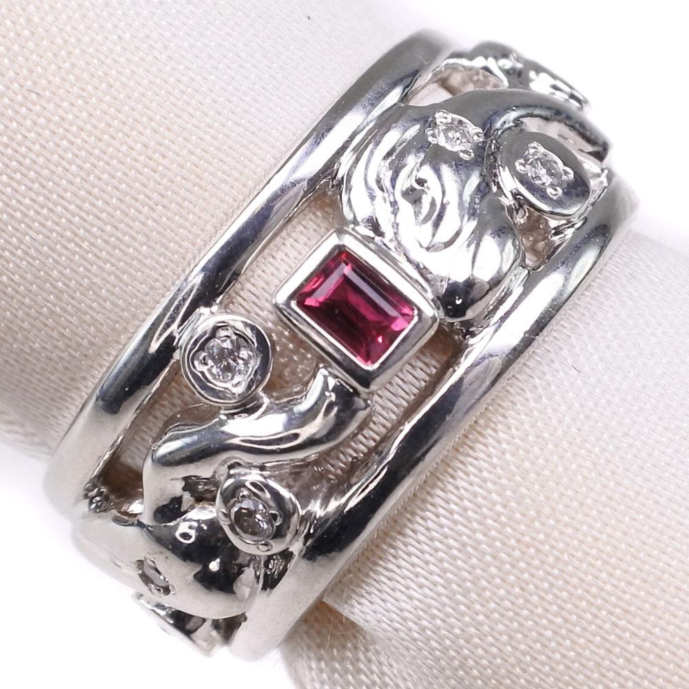 ダイヤモンド ルビー Pt900プラチナ 11号 0.07刻印 レディース リング・指輪【中古】SAランク