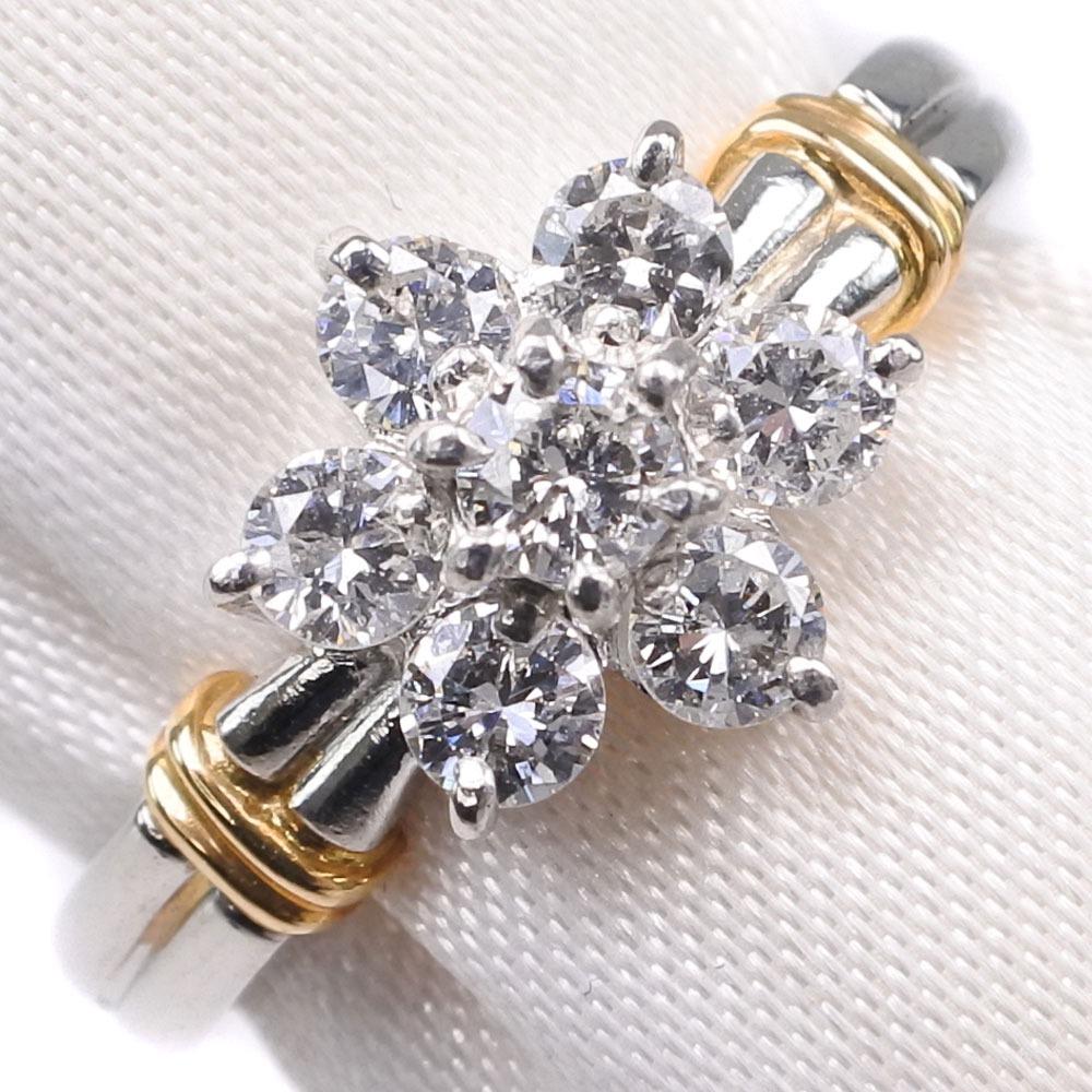 ダイヤモンド Pt900プラチナ×K18イエローゴールド 9号 0.50刻印 レディース リング・指輪【中古】SAランク