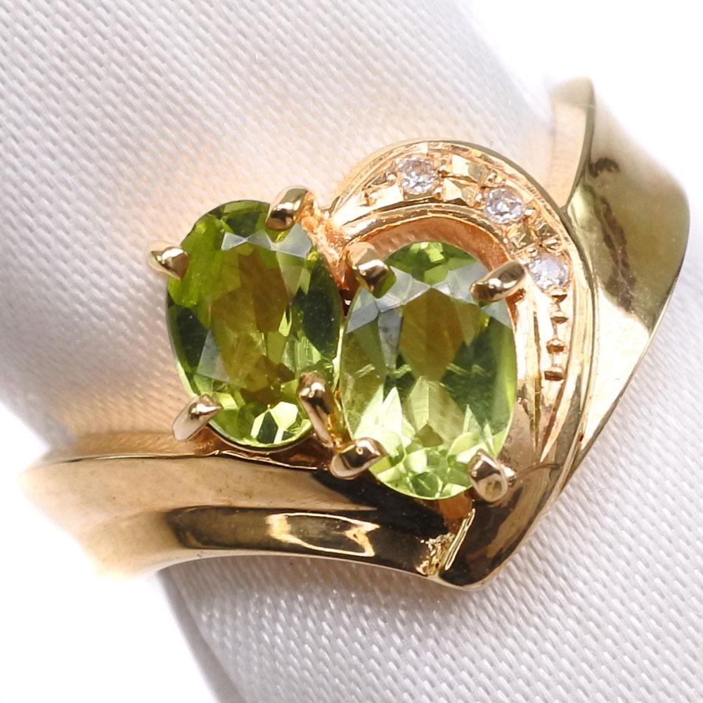 K18ゴールド×ペリドット×ダイヤモンド 11号 レディース リング・指輪【中古】SAランク