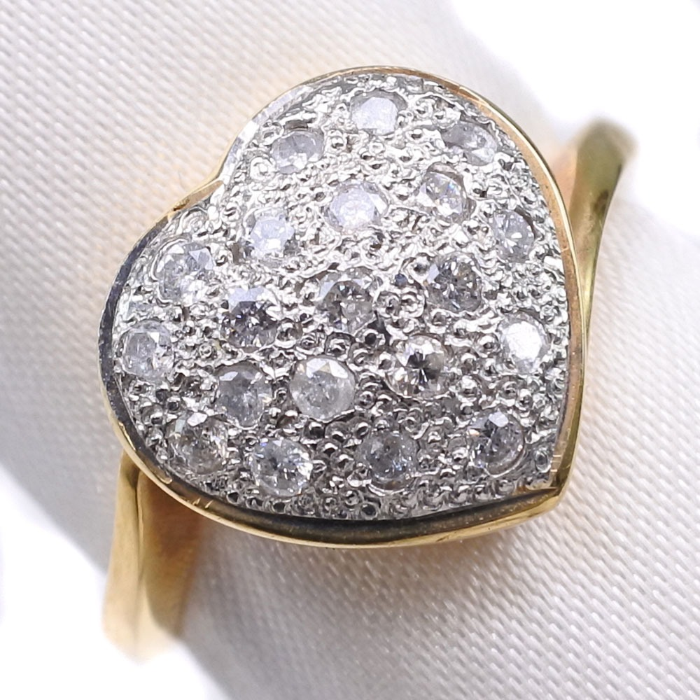 ハート K18ゴールド×Pt900プラチナ×ダイヤモンド 12号 D 0.3刻印 レディース リング・指輪【中古】SAランク