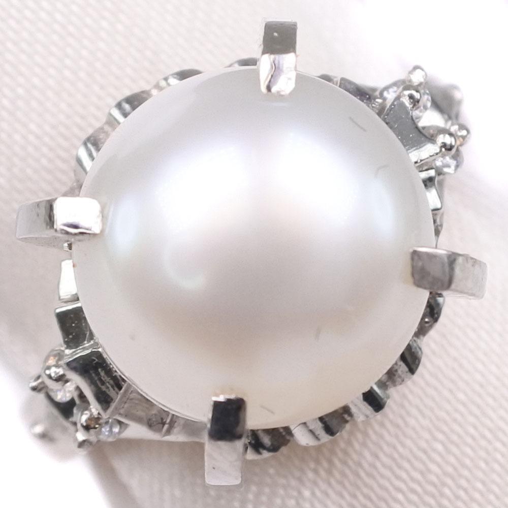 真珠 ダイヤモンド 10mm パール×Pt900プラチナ 13号 レディース リング・指輪【中古】SAランク