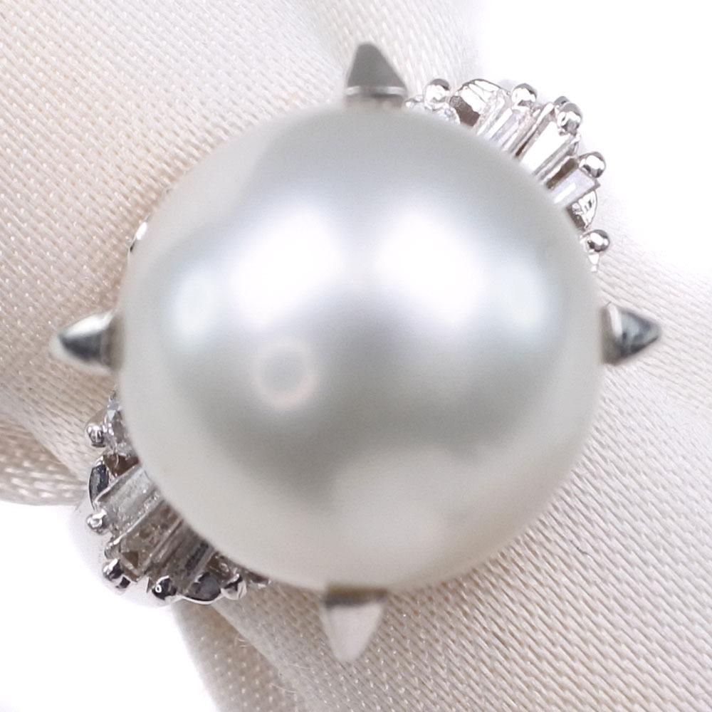 真珠 ダイヤモンド 10.5mm パール×Pt900プラチナ 6号 0.11刻印 レディース リング・指輪【中古】SAランク