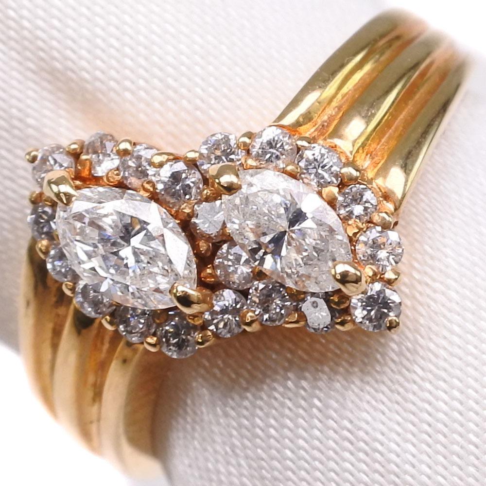 K18ゴールド×ダイヤモンド 12.5号 D 0.63刻印 レディース リング・指輪【中古】SAランク