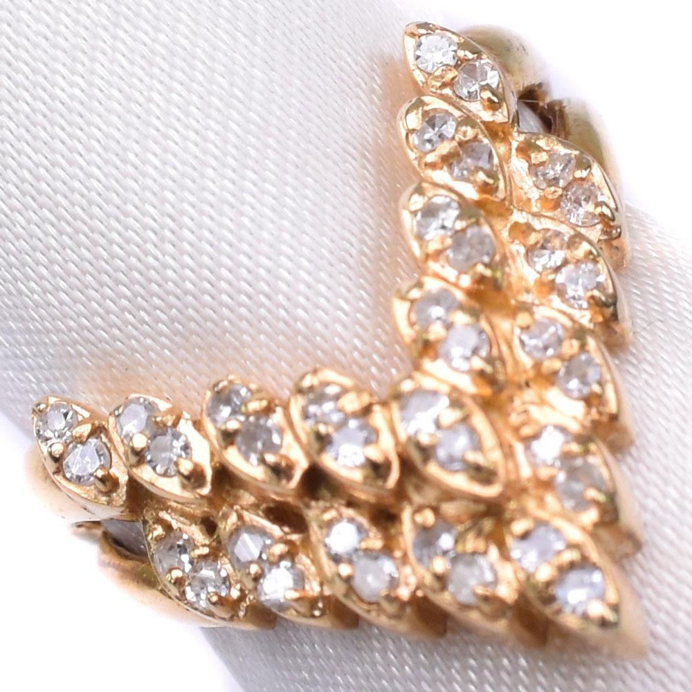 K18ゴールド×ダイヤモンド 10号 D 0.30刻印 レディース リング・指輪【中古】SAランク