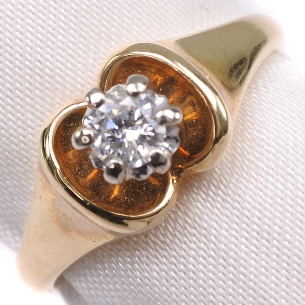 K14ゴールド×ダイヤモンド 13号 レディース リング・指輪【中古】SAランク
