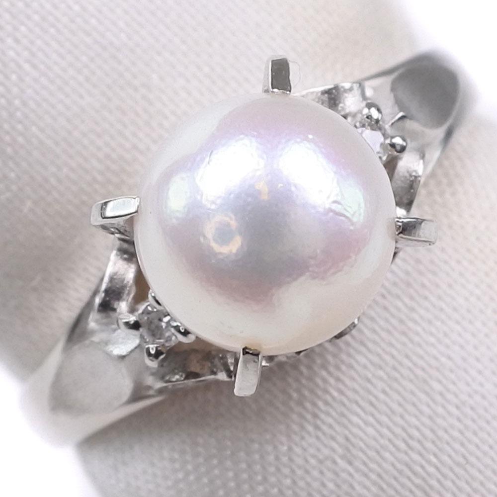 真珠/パール 7mm Pt900プラチナ 10号 レディース リング・指輪【中古】SAランク