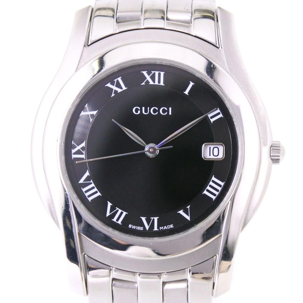 【GUCCI】グッチ 5500M ステンレススチール シルバー クオーツ メンズ 黒文字盤 腕時計【中古】