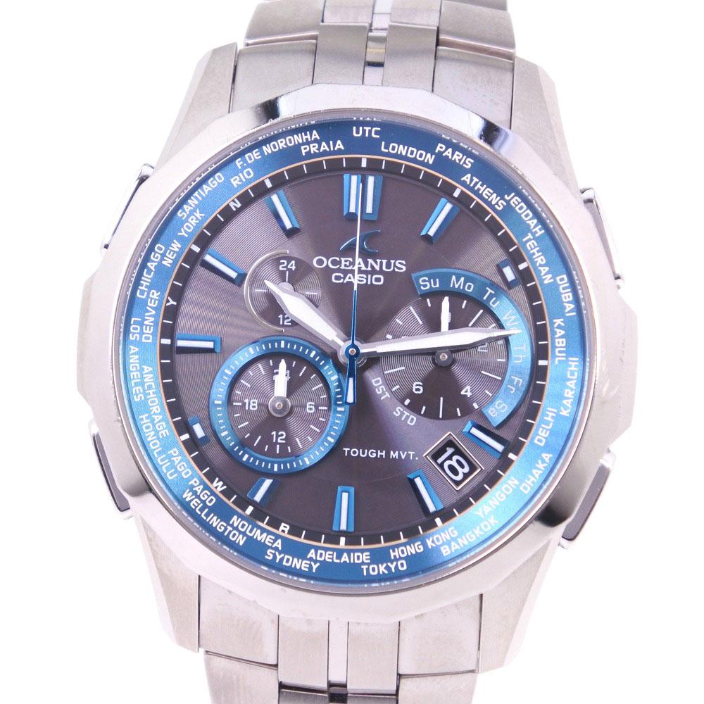 【CASIO】カシオ オシアナス 5075 OCWS1400-1AJF チタン ブルー ソーラー電波時計 メンズ グレー文字盤 腕時計【中古】A-ランク