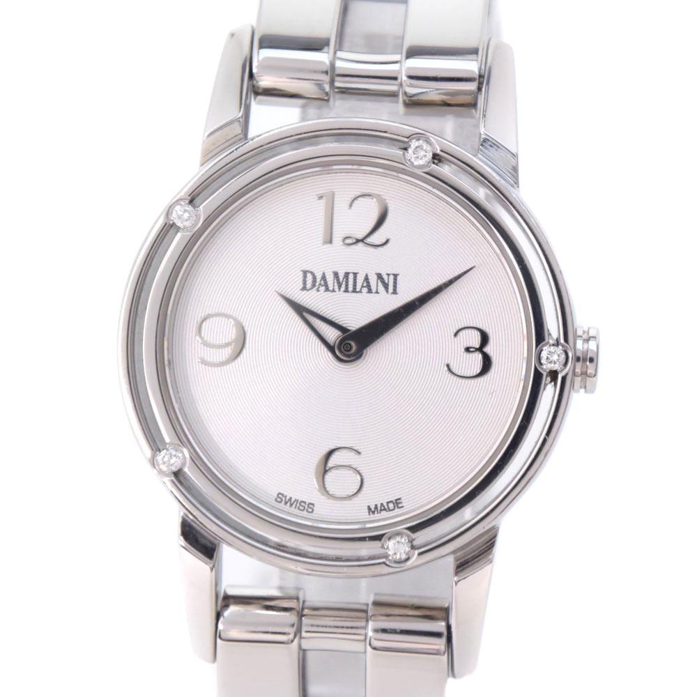 【Damiani】ダミアーニ D-SIDE 5Pダイヤ ステンレススチール クオーツ レディース シルバー文字盤 腕時計【中古】Aランク