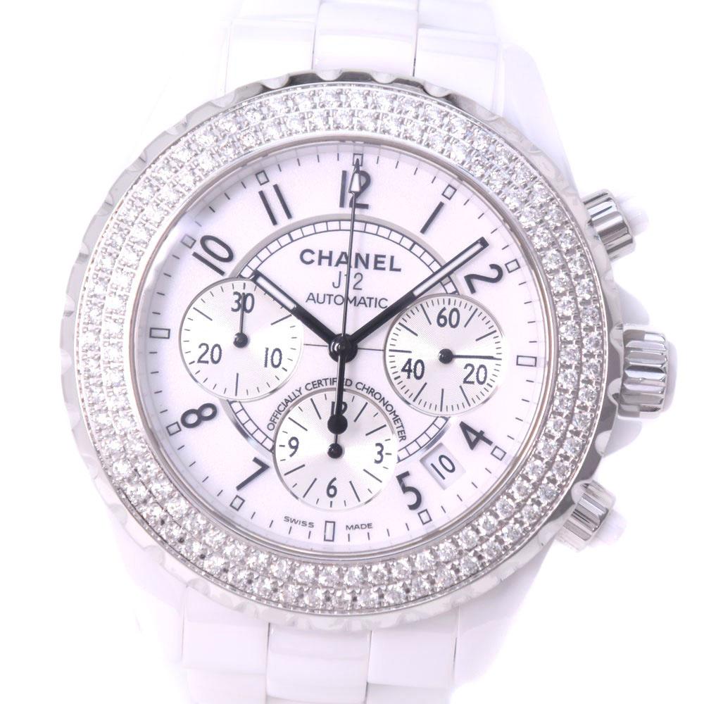 【CHANEL】シャネル J12 クロノグラフ アフターダイヤ ホワイトセラミック 自動巻き メンズ 白文字盤 腕時計【中古】Aランク