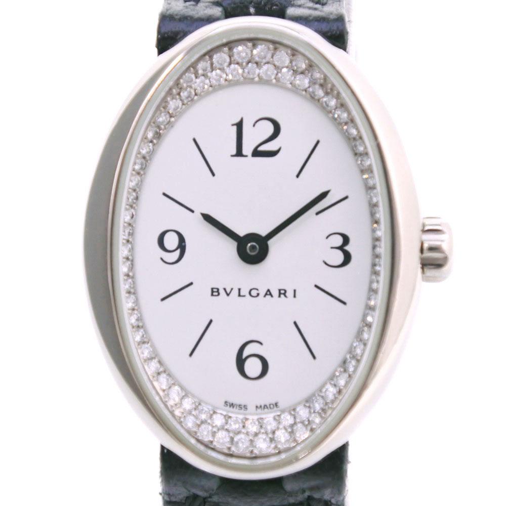 【BVLGARI】ブルガリ オーバル ダイヤベゼル OVW27G K18ホワイトゴールド×レザー クオーツ レディース 白文字盤 腕時計【中古】A+ランク