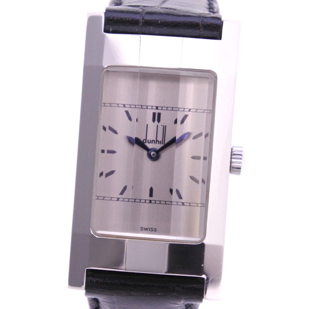 【Dunhill】ダンヒル ダンヒリオン ステンレススチール×レザー 手巻き メンズ シルバー文字盤 腕時計【中古】A-ランク