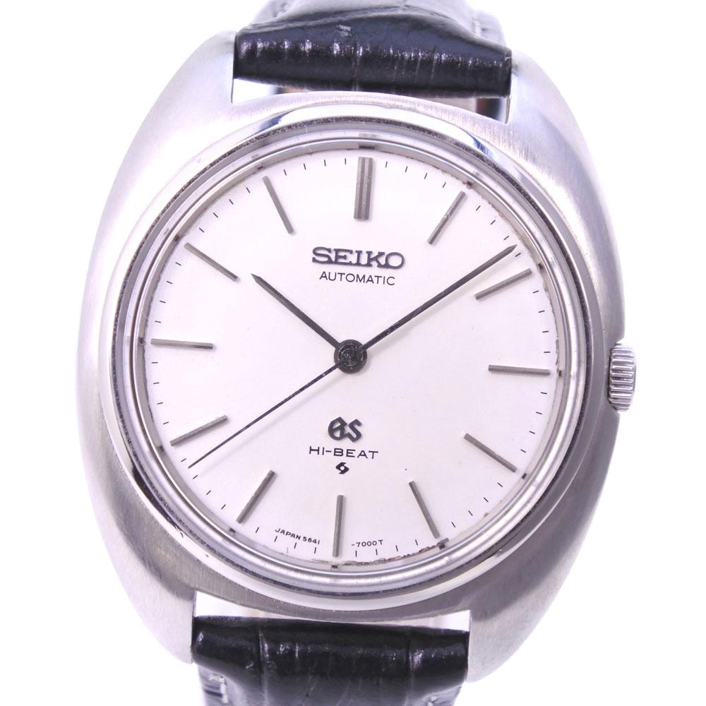 【SEIKO】セイコー グランドセイコー ハイビート 5641-7000 ステンレススチール×レザー 自動巻き メンズ シルバー文字盤 腕時計【中古】A-ランク