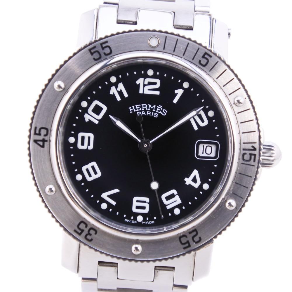 【HERMES】エルメス クリッパーダイバー CL7.710 ステンレススチール ブラック クオーツ メンズ 黒文字盤 腕時計【中古】A-ランク