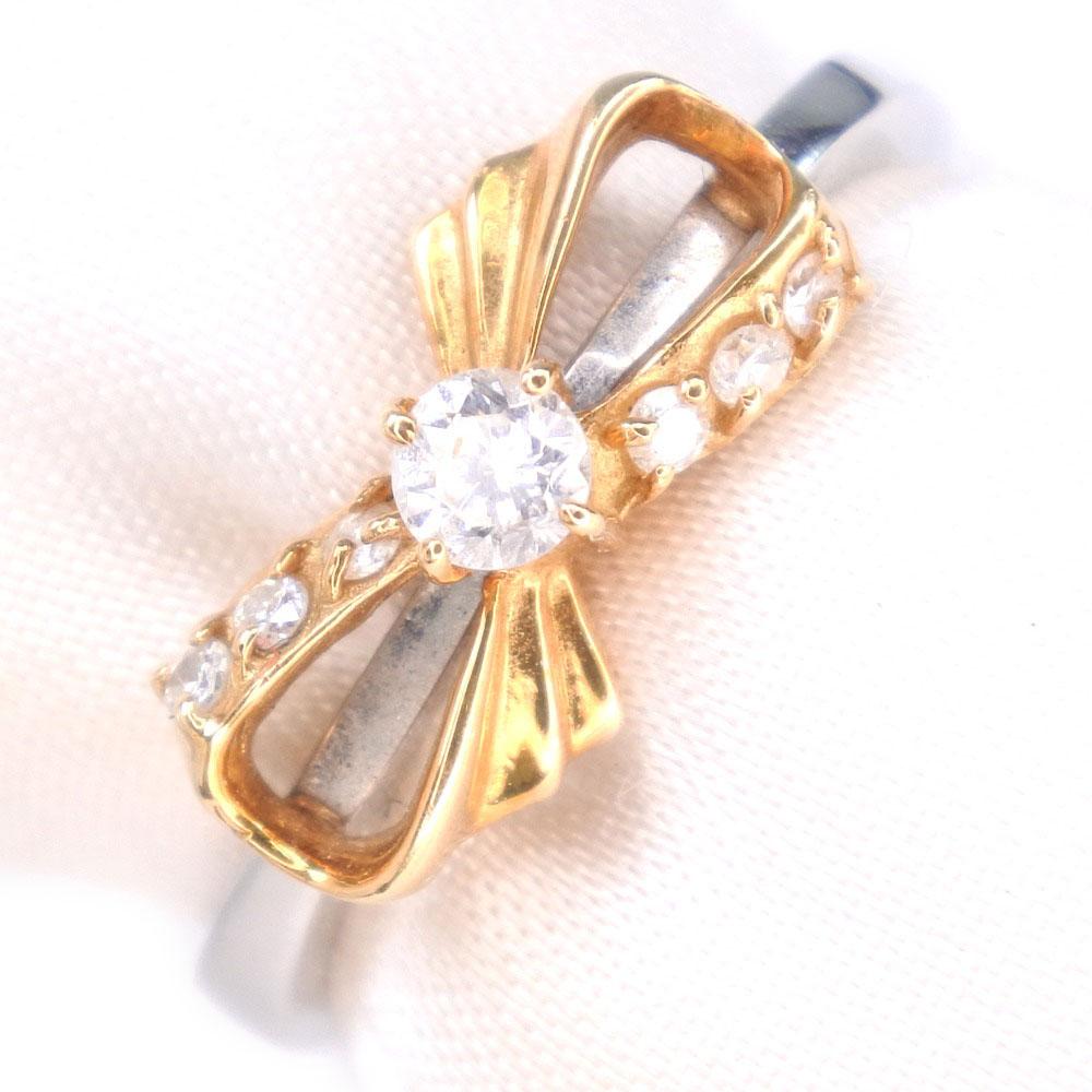 リボン ダイヤモンド Pt900プラチナ×K18イエローゴールド 7号 シルバー レディース リング・指輪【中古】SAランク