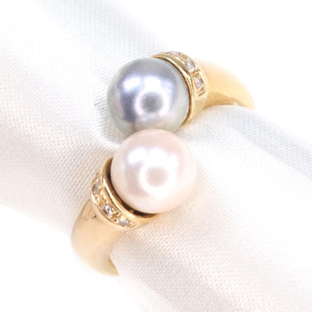 真珠 K18イエローゴールド×パール×ダイヤモンド 12.5号 レディース リング・指輪【中古】SAランク