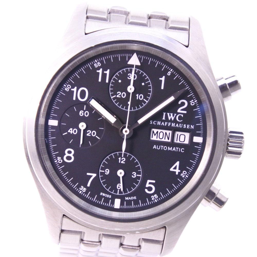 【IWC】インターナショナルウォッチカンパニー フリーガークロノ IW370607 ステンレススチール シルバー 自動巻き メンズ 黒文字盤 腕時計【中古】A-ランク