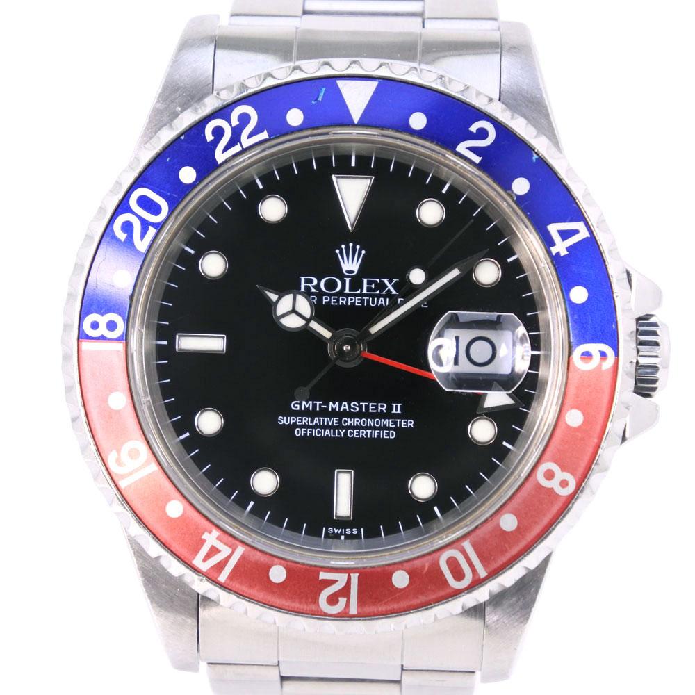 【ROLEX】ロレックス GMTマスター2 ペプシ 青/赤ベゼル A番 16710 ステンレススチール 自動巻き メンズ 黒文字盤 腕時計【中古】