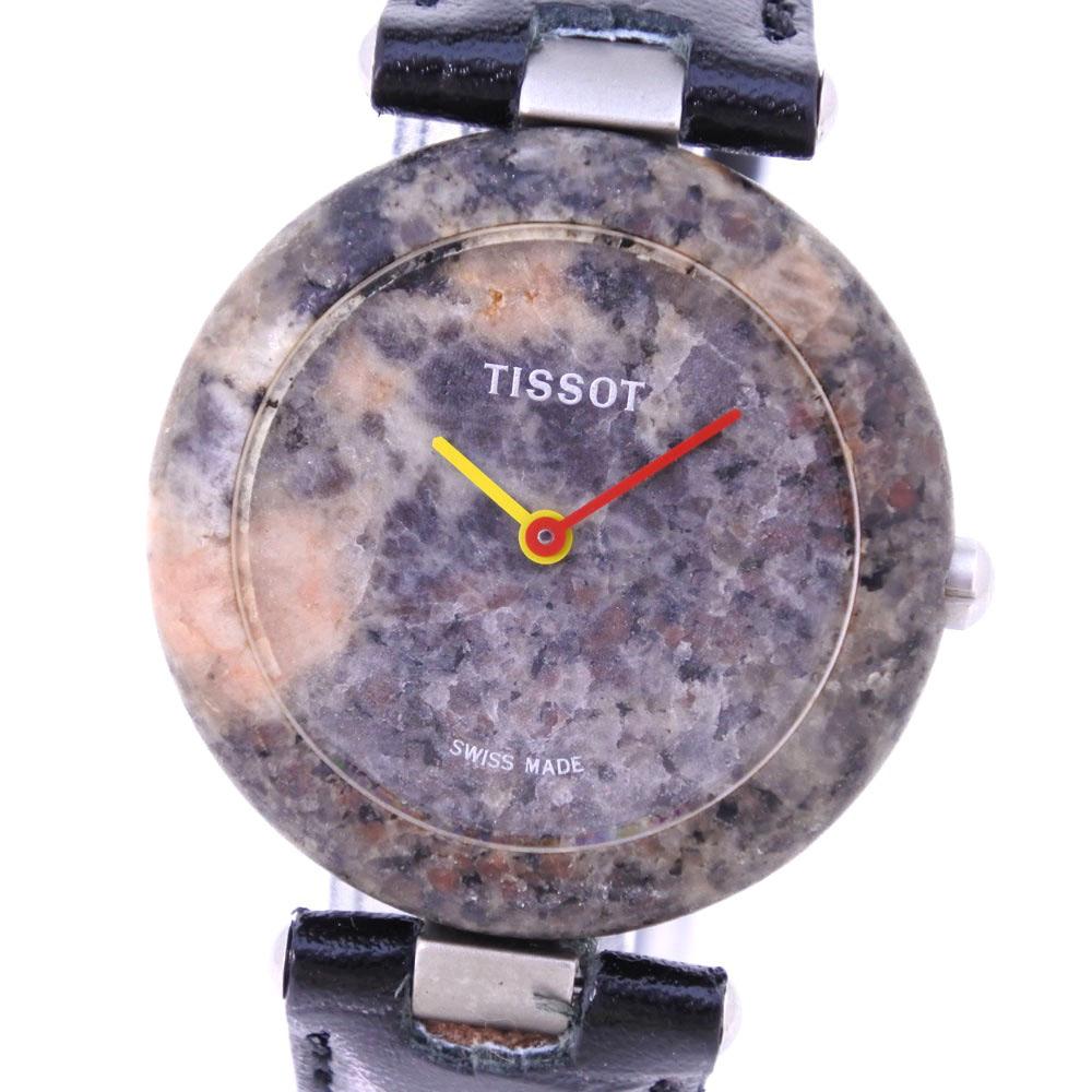 【TISSOT】ティソ ロックウォッチ R150 レザー×石 クオーツ レディース グレー文字盤 腕時計【中古】A-ランク