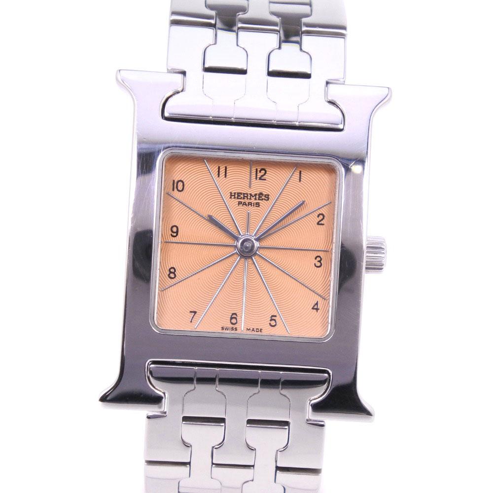 【HERMES】エルメス Hウォッチ HH1.210 ステンレススチール シルバー クオーツ レディース ブロンズ文字盤 腕時計【中古】Aランク