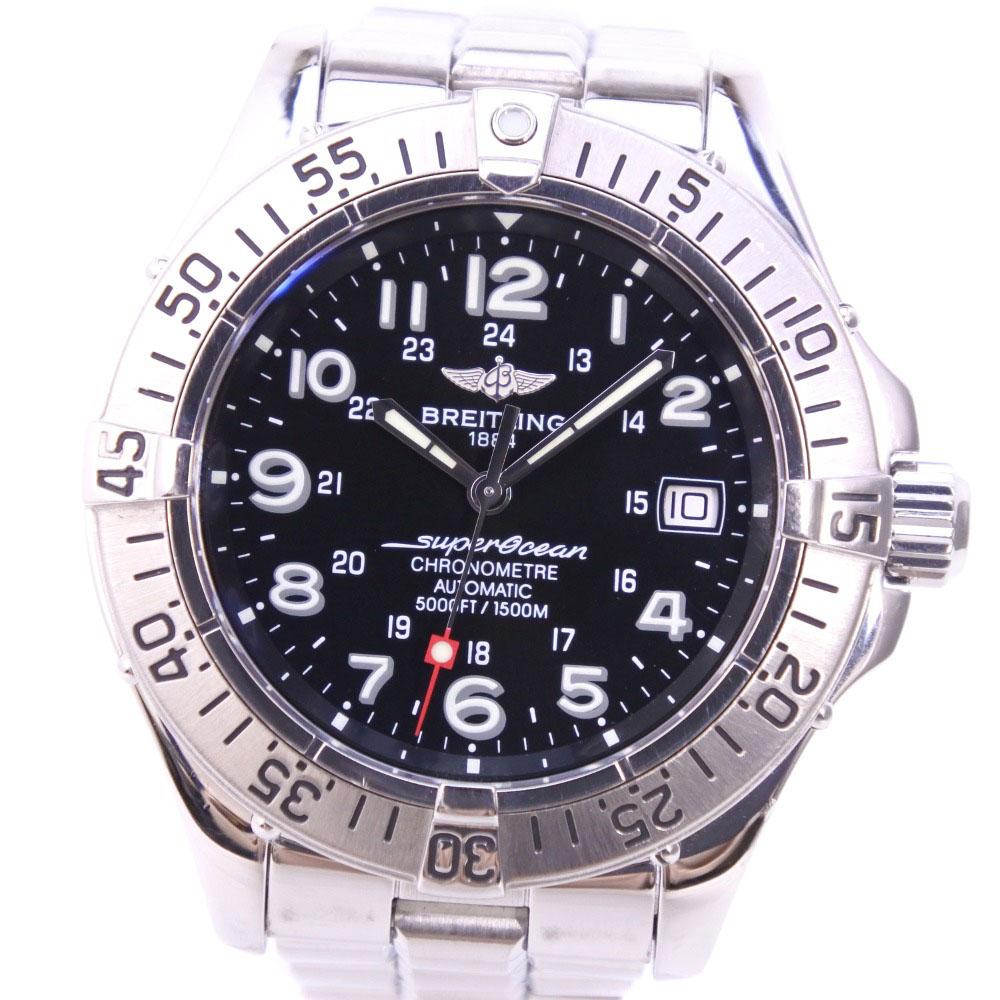 【BREITLING】ブライトリング スーパーオーシャン A17360 ステンレススチール シルバー 自動巻き メンズ 黒文字盤 腕時計【中古】A-ランク