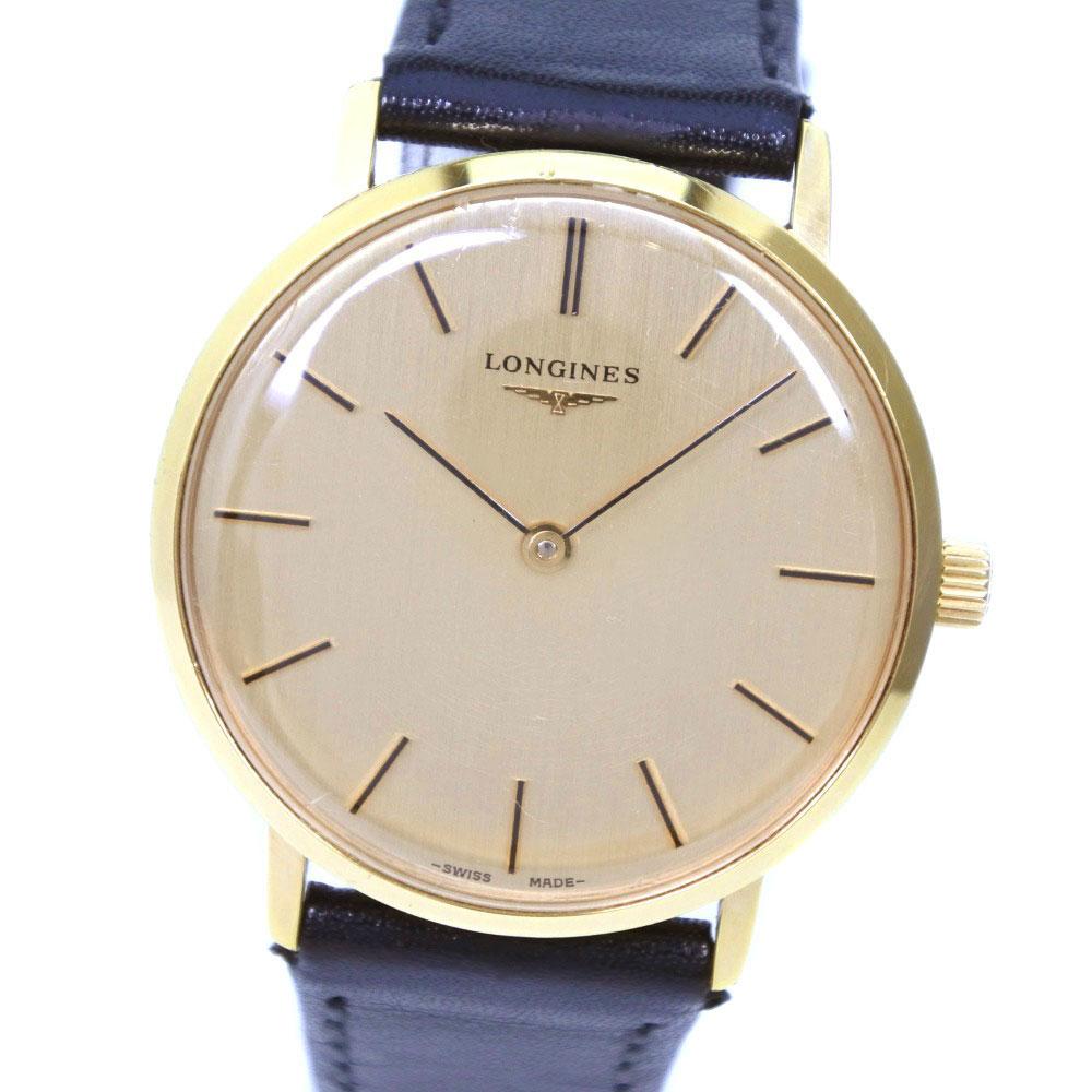 【LONGINES】ロンジン ステンレススチール×レザー ブラック 手巻き メンズ ゴールド文字盤 腕時計【中古】