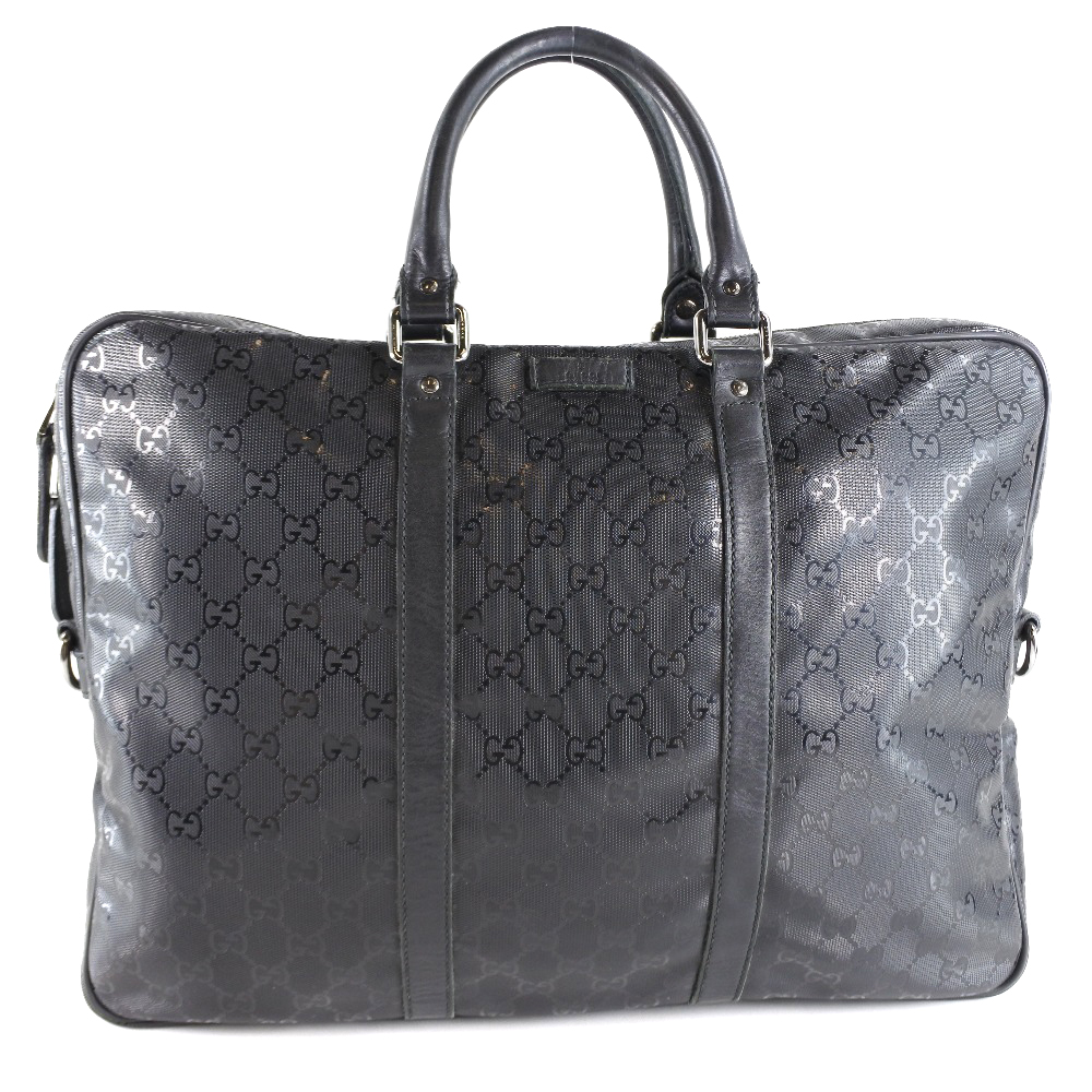 【GUCCI】グッチ 201480 PVCコーティングキャンバス 黒 メンズ ビジネスバッグ【中古】