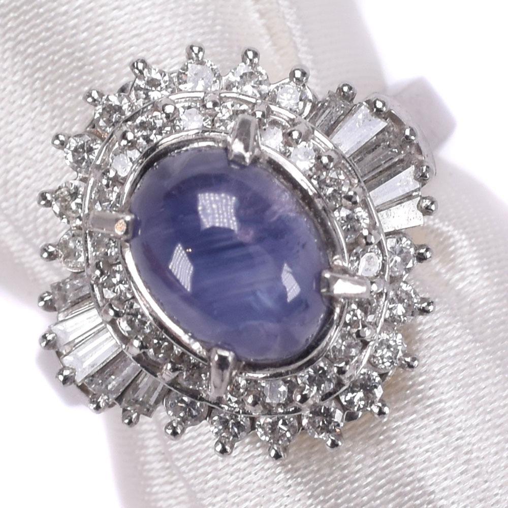 ダイヤモンド×Pt900プラチナ×スターサファイア 9号 S3.084 D0.68刻印 レディース リング・指輪【中古】SAランク