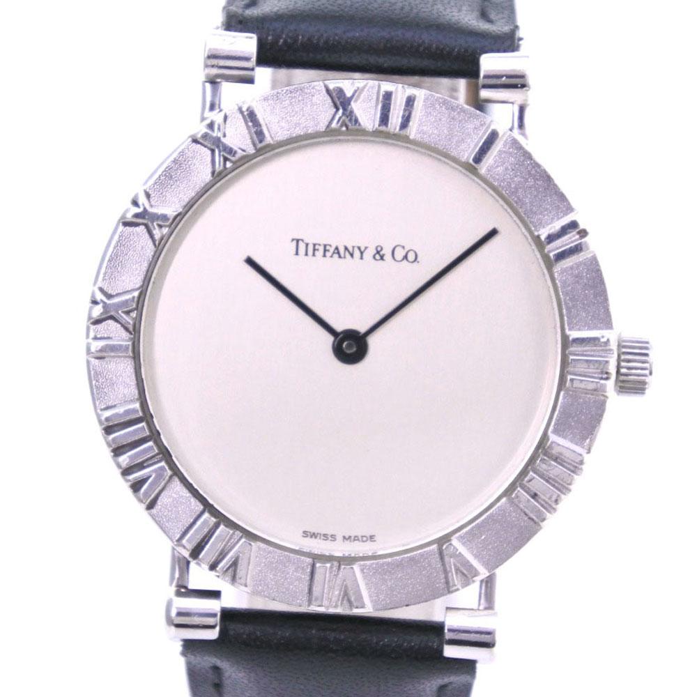 【TIFFANY&Co.】ティファニー アトラス M0640 シルバー925×レザー クオーツ メンズ シルバー文字盤 腕時計【中古】