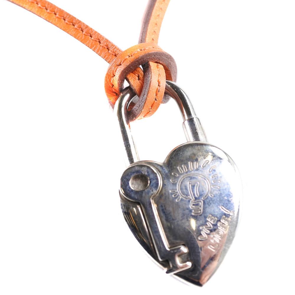 【HERMES】エルメス ファンタジー ハート キー シルバー925×レザー オレンジ ユニセックス ネックレス【中古】A-ランク