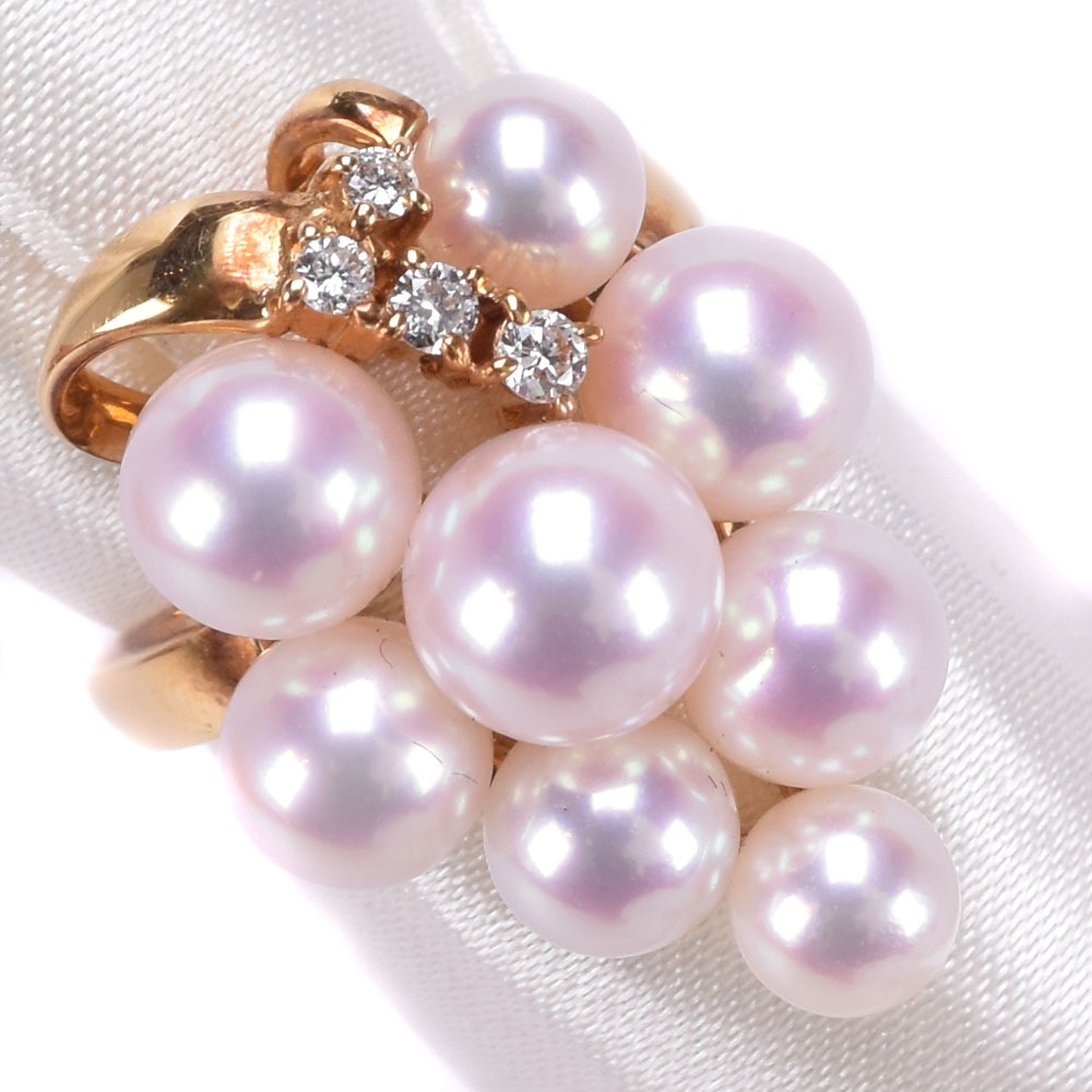 【POLA】ポーラ 真珠 K18イエローゴールド×パール×ダイヤモンド 9号 0.09刻印 レディース リング・指輪【中古】SAランク
